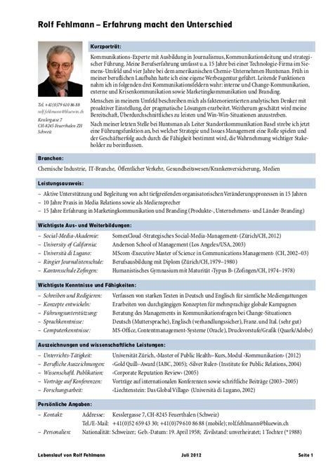 Lebenslauf Vorlage Chemiker Lebenslauf Rolf Fehlmann De Juli 2012