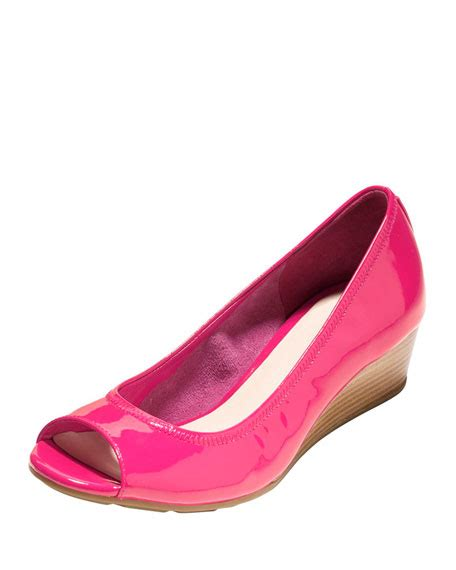 Wedges Tali Pink Black cole haan air tali open toe wedge electra pink
