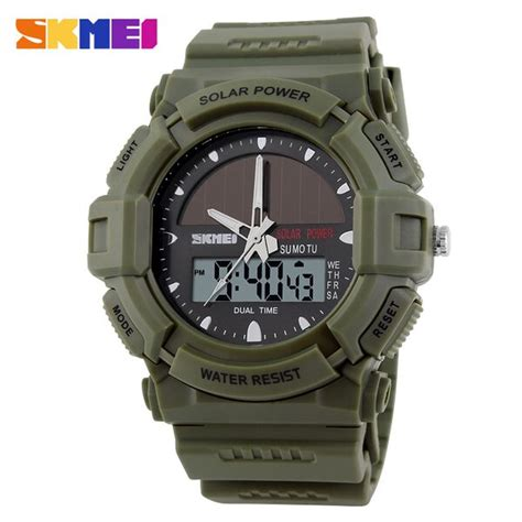 Jam Tangan Pria Solar Power Jam Tangan Skmei Original Water Resist skmei jam tangan analog digital pria ad1050e army green jakartanotebook