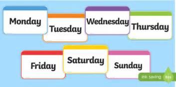 Days Of The Week Flashcards Days Week Flashcards Cards