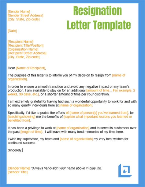 resignation letter template business writing templates
