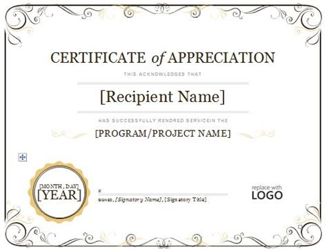 certificate of appreciation 08 projects to try