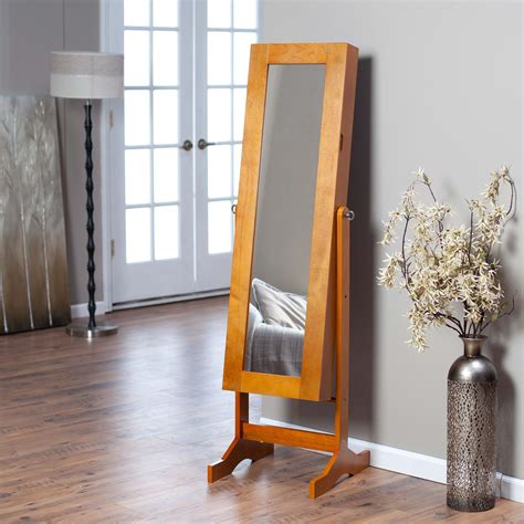 oak standing mirror jewelry armoire modern jewelry armoire cheval mirror oak floor mirrors