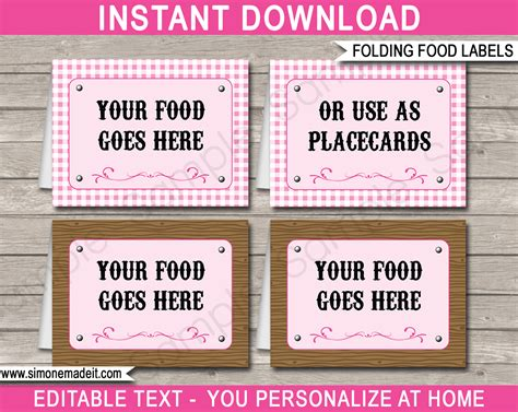 buffet cards template food labels place cards theme