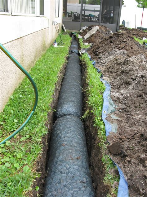 installing a french drain in backyard nds ez drain pre constructed french drain installation
