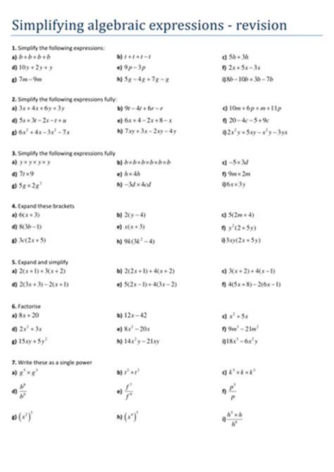 Simplifying Algebraic Expressions Worksheets Pdf by All Worksheets 187 Simplifying Algebraic Expressions