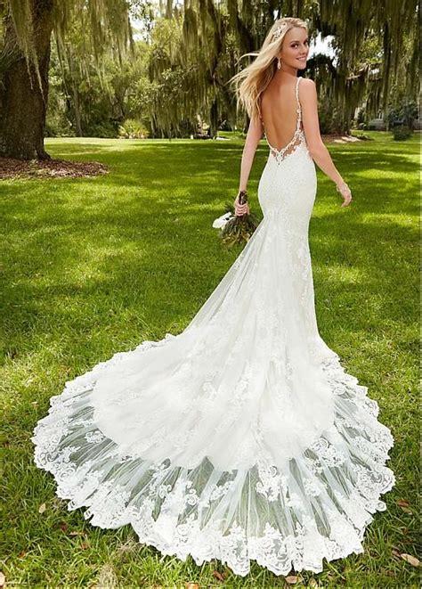 elegant tulle spaghetti straps neckline mermaid wedding