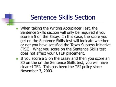section in a sentence ppt accuplacer writing test powerpoint presentation id