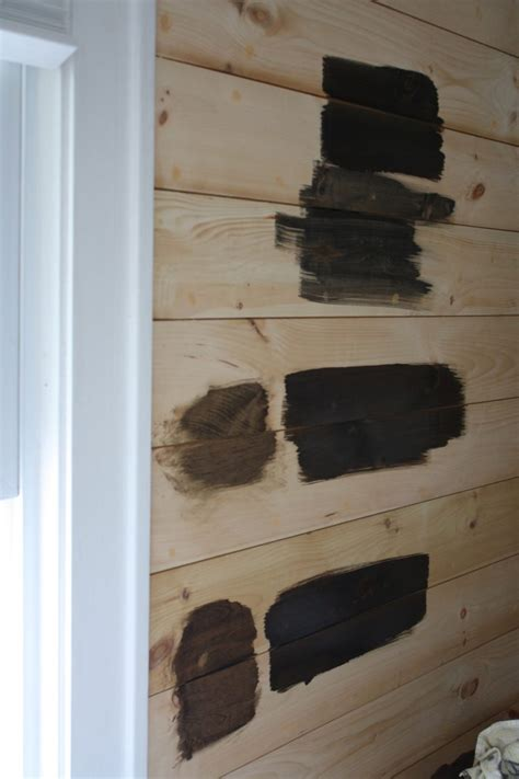 Stained Shiplap Minwax Staining Trials On Shiplap Paneling Merrypad