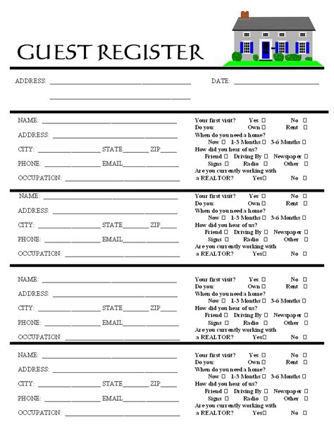 open house guest registration form template psjr top 7 percent