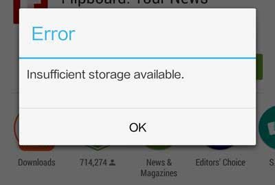 insufficient storage available android fix fix for android s insufficient storage available error techtrickz