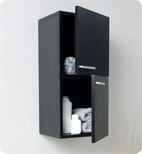 12 5 Quot Fresca Fst8091bw Black Bathroom Linen Side Cabinet Black Bathroom Cabinets And Storage Units