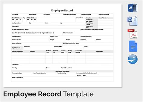 Employee Record Templates 32 Free Word Pdf Documents Download Free Premium Templates Employee Record Template