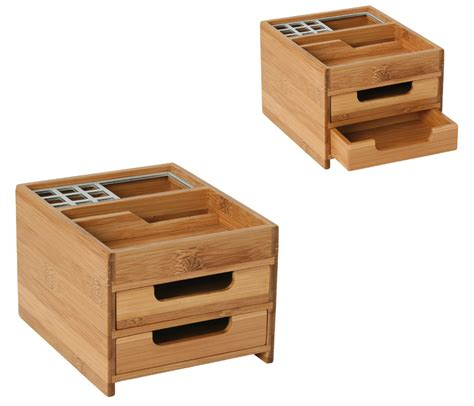 schubladen aus holz schreibtischbox bambus alu schubladen stiftehalter holz