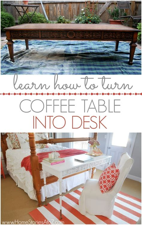 How To Make A Coffee Table Into An Ottoman Furniture Hack How To Turn A Coffee Table Into A Desk Desks Coffee And Easy Peasy