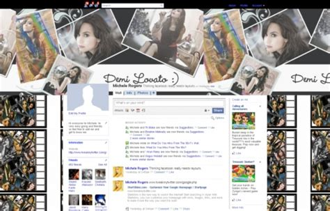 themes facebook and skin demi lovato facebook layouts demi lovato facebook themes