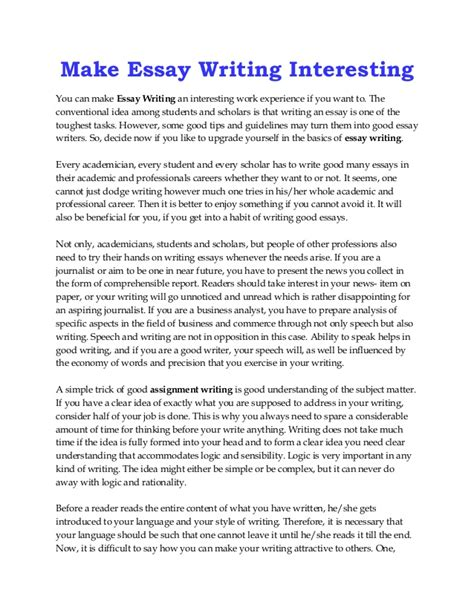 Work In School Essay by Make Essay Writing Interesting