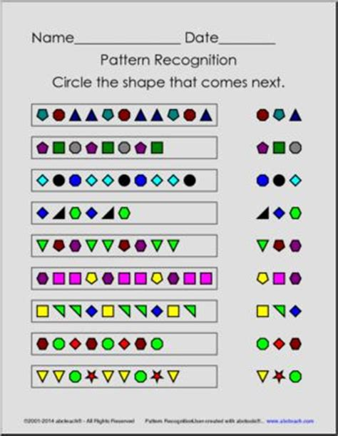 Pattern Recognition Numbers And Figures | math worksheets pattern recognition math worksheet