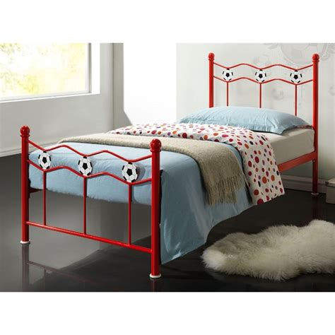 red bed frame red football metal bed frame single 3ft free next day