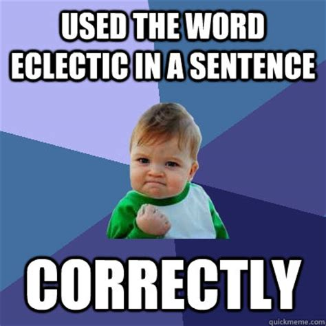 Meme Sentences - used the word eclectic in a sentence correctly success