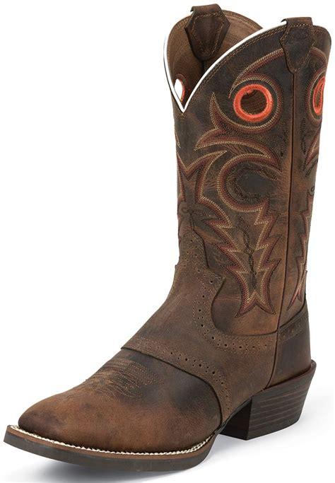 justin mens cowboy boots justin mens silver collection 12 quot cowboy boots buffalo brown