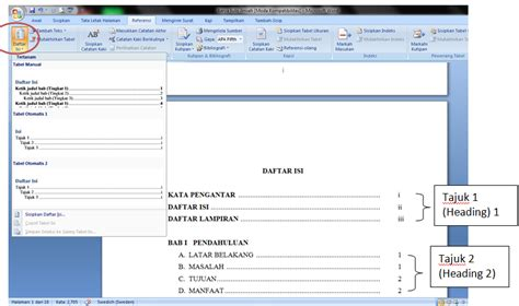 jelaskan langkah langkah membuat daftar isi membuat daftar isi otomatis di ms word 2007 berbagi