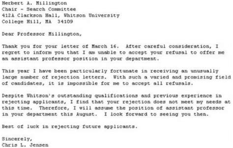 Rejection Letter For Visit The Best Response To A Rejection Letter Neatorama