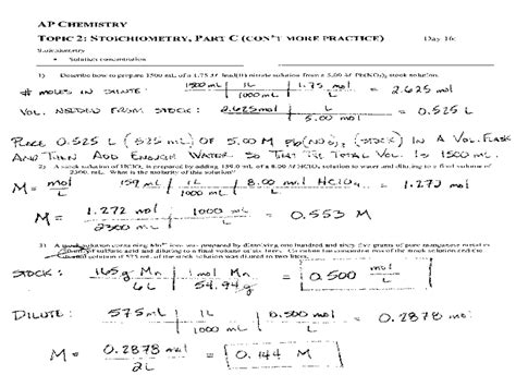 Chemical Equations And Stoichiometry Worksheet Answers by Ap Chemistry Worksheet Lesupercoin Printables Worksheets