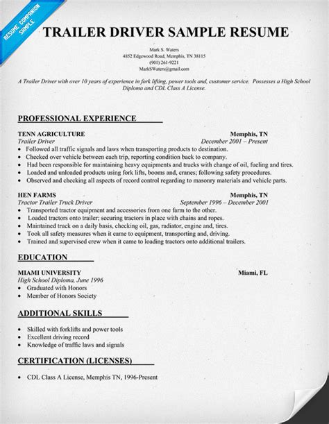 truck driving resume sles trailer driver resume sle resumecompanion