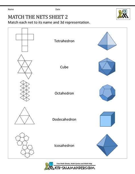 nets worksheets grade 6 nets of 3d shapes worksheets match the nets 2