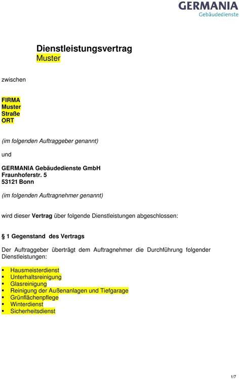 Angebot Muster Unterhaltsreinigung Dienstleistungsvertrag Muster Pdf