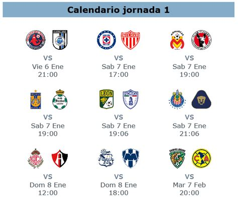 Calendario Futbol Mexicano Tabla General Clausura 2017 En La Jornada 2 Apuntes