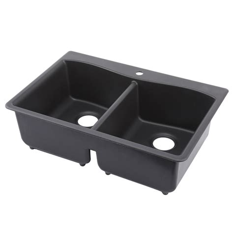 Kholer Kitchen Sinks Kohler Kennon Drop In Undermount Neoroc 33 In 1 Bowl Kitchen Sink In Matte Black K