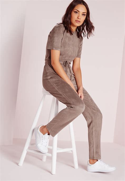 Swedi Jumpsuit missguided faux suede drawstring waist jumpsuit taupe in brown lyst