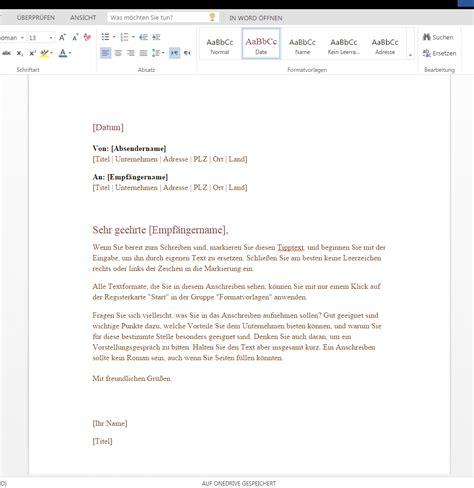 Formaler Briefvorlage Formeller Gesch 228 Ftsbrief Wordvorlage De