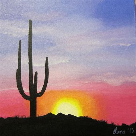 Paintings Home Decor by Desert Silhouette Painting By Lana Arft