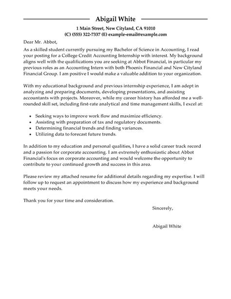 accounting cover letter internship internship college credits cover letter exles