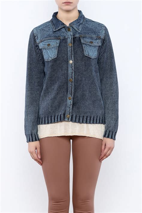 denim and knit jacket pbj blues knit denim jacket from cambria by new moon