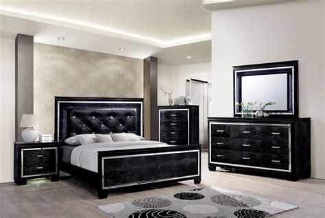 bellanova black upholstered panel bedroom set cm7979bk q