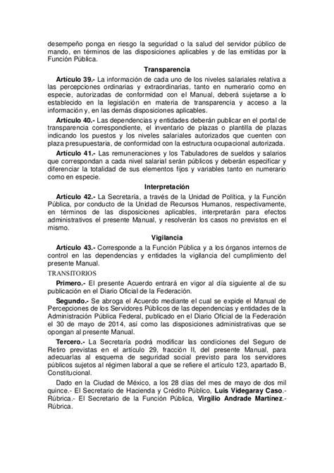 manual de percepciones de la apf 2016 acuerdo manual de percepciones de los servidores publicos