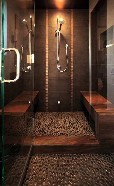 walk in river rock floor shower room for two i