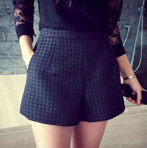 Celana Pendek Wanita Kotak Kotak 2016 new fashion eropa dan joker gelap kotak kotak celana pendek berpinggang tinggi celana