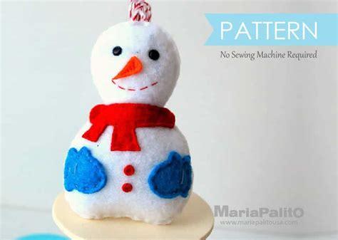 pattern for a felt snowman snowman christmas ornament sewing parttern a773 the