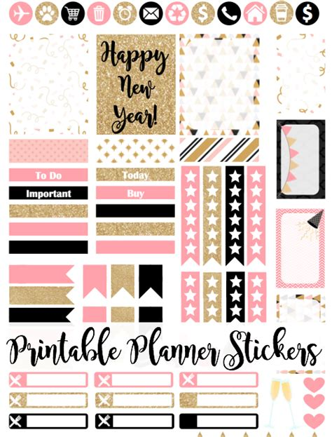 printable glitter stickers free printable pink gold glitter new year s planner