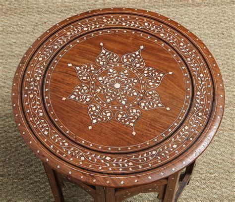 indian bone inlaid circular folding table at 1stdibs