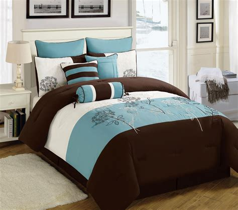 9 piece king seda blue coffee ivory comforter set ebay
