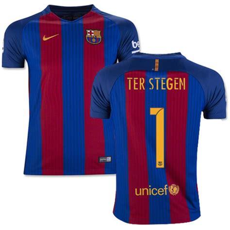Tshirt Barcelona Blaugrana 16 Ter Stegen youth 16 17 barcelona 1 marc andre ter stegen blue stripes home authentic jersey