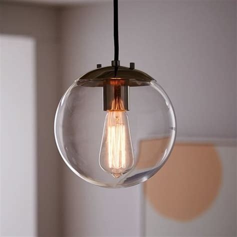 clear glass pendant lights globe pendant clear west elm