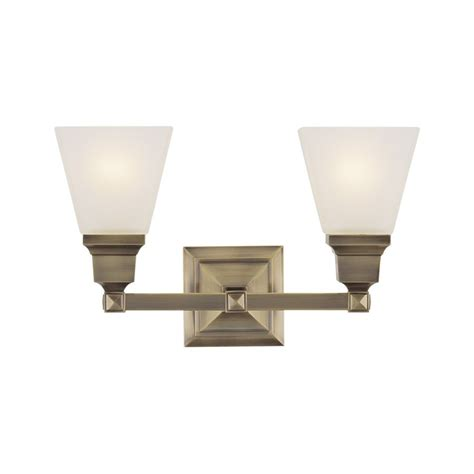 5 Bulb Vanity Light by Shop Livex Lighting Mission 2 Light 9 5 In Antique Brass