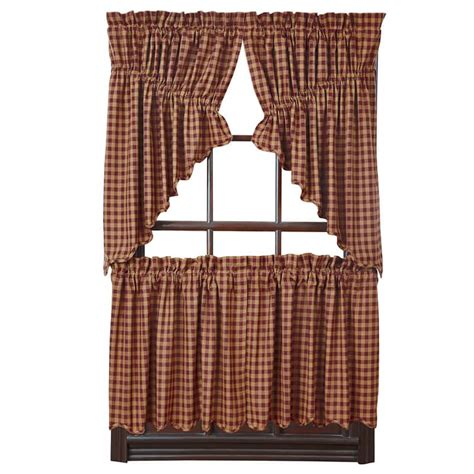 24 x 36 curtains burgundy check scalloped curtain tiers 36 quot w x 24 quot l